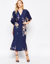 Платье-кимоно миди с цифровым принтом в восточном стиле Liquorish