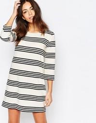 Цельнокройное платье в полоску Esprit - Бежевый