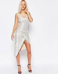 Платье макси цвета металлик с асимметричным перекрученным дизайном Liq Liquorish