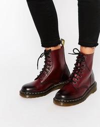 Вишнево-красные ботинки с 8 люверсами Dr Martens Pascal