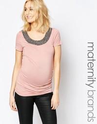 Топ для беременных с отделкой горловины из бусин Mamalicious Silvia Mama.Licious