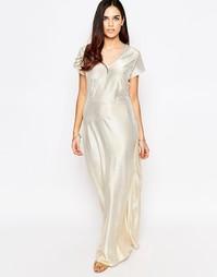 Блестящее платье макси цвета металлик Liquorish - Золотой