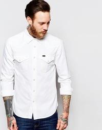Светло-бежевая джинсовая рубашка слим в стиле вестерн Lee - Белая мгла