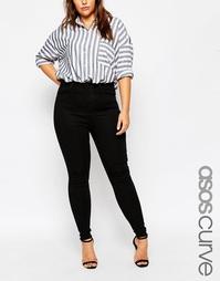 Черные джинсы с завышенной талией ASOS CURVE Sculpt Me - Черный