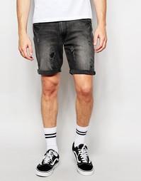 Рваные джинсовые шорты скинни ASOS - Выбеленный черный