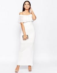 Платье макси с вырезом лодочкой и кружевной оборкой Club L Essentials