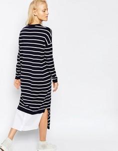 Вязаное платье миди в полоску ASOS WHITE - Мульти