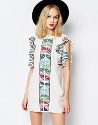 Платье с вышивкой и оборками на рукавах Piper Bogo - Белый