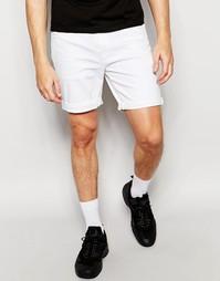 Белые эластичные джинсовые шорты слим ASOS - Белый