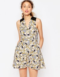 Приталенное платье мини с цветочным принтом ASOS AFRICA x Chichia