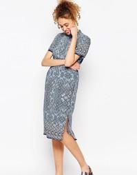 Платье-рубашка миди с принтом ASOS AFRICA x Chichia - Мульти