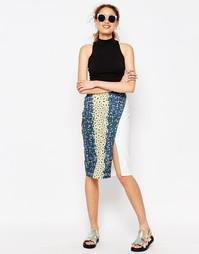 Контрастная юбка миди с цветочным принтом ASOS AFRICA x Chichia