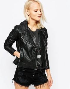 Асимметричная кожаная куртка Barney's Originals - Черный