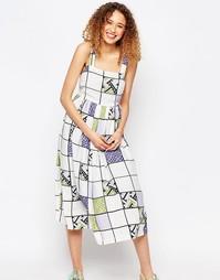 Платье миди с широкой юбкой и решетчатым принтом ASOS AFRICA x Chichia