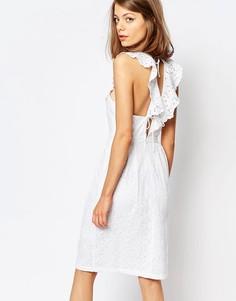 Платье с оборками и шнуровкой на спине Lost Ink - Белый