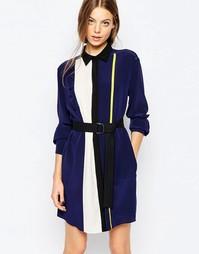 Длинное темно-синее платье-рубашка с завязками на талии Sportmax Code