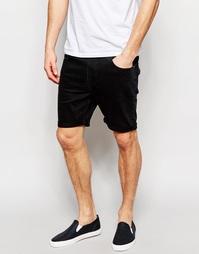 Черные узкие джинсовые шорты стретч ASOS - Черный