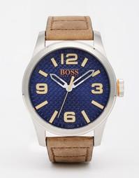 Часы с коричневым кожаным ремешком BOSS Orange Paris - Коричневый