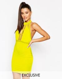 Платье мини с высокой горловиной и шнуровкой спереди NaaNaa - Желтый