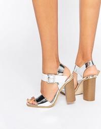 Серебристые сандалии на блочном каблуке Head over Heels By Dune Ilana