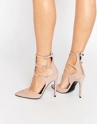 Замшевые туфли-лодочки телесного цвета с ремешками Kendall & Kylie Ali