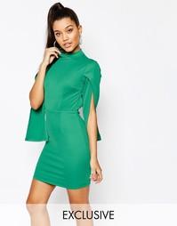 Платье мини с высоким воротом без рукавов NaaNaa - Зеленый