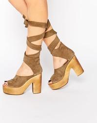 Серо-коричневые клоги на каблуке Free People - Серо-коричневый 2224