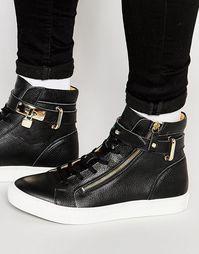 Высокие кожаные кроссовки Walk London - Черный