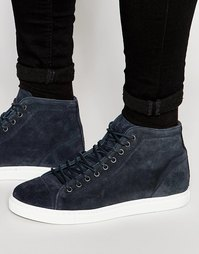Высокие замшевые кроссовки Walk London - Темно-синий