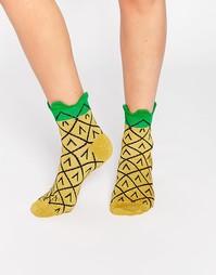 Носки с блестящими ананасами ASOS - Желтый