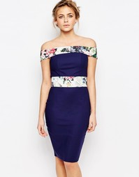 Платье-футляр с контрастной отделкой и открытыми плечами Paper Dolls