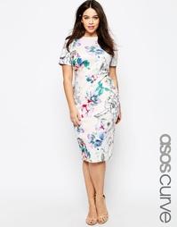 Облегающее платье с цветочным принтом ASOS CURVE - Цветочный рисунок
