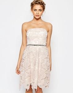 Кружевное платье миди Little Mistress - Nude pink