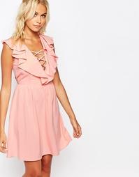Платье с рюшами и завязкой Fashion Union - Розовый