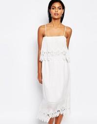 Двухслойное платье миди с кружевом Moon River - Белый