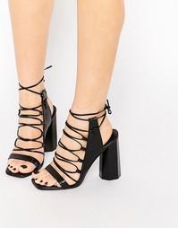 Сандалии на каблуке из черной кожи со шнуровкой Senso Niala - Черный