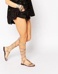Серо-коричневые сандалии на шнуровке Free People Dahlia