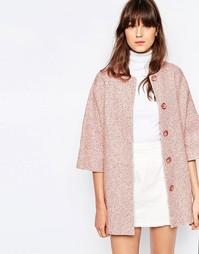 Розовое твидовое пальто-кимоно Helene Berman - Розовый