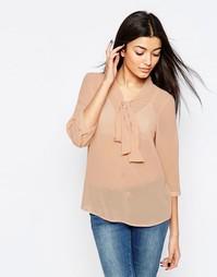 Рубашка с завязками спереди Vero Moda - Коричнево-красная роза