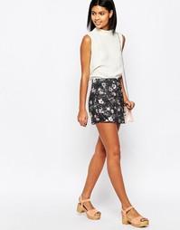 Юбка-шорты с цветочным принтом Daisy Street - Черный