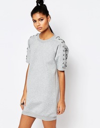 Трикотажное oversize‑платье из неопрена со шнуровкой Story Of Lola