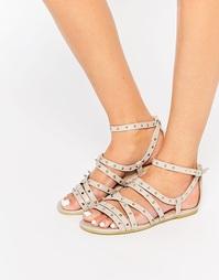 Нюдовые сандалии с заклепками Daisy Street - Телесный