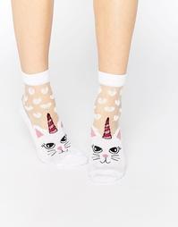 Носки в сердечки с прозрачными вставками в виде кошек ASOS - Белый