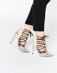 Сандалии на каблуке с эффектом змеиной кожи и шнуровкой Lost Ink Chill