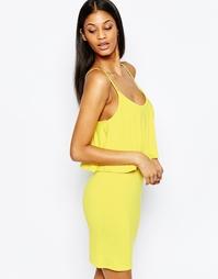 Платье миди с накладкой Club L - Ярко-желтый