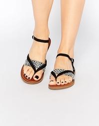Черные сандалии‑вьетнамки TOMS Lexie - Черно-белый с плетением