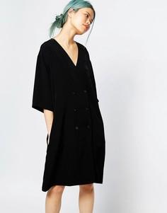 Двубортное платье-туника с v-вырезом Monki - Черный