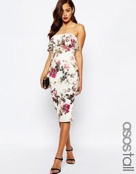 Платье-бандо миди с принтом и оборкой ASOS TALL - Мульти