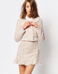 Розовый укороченный твидовый пиджак Sister Jane Lemonade - Телесный