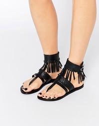 Кожаные сандалии в стиле вестерн с бахромой ASOS FAR WEST - Черный